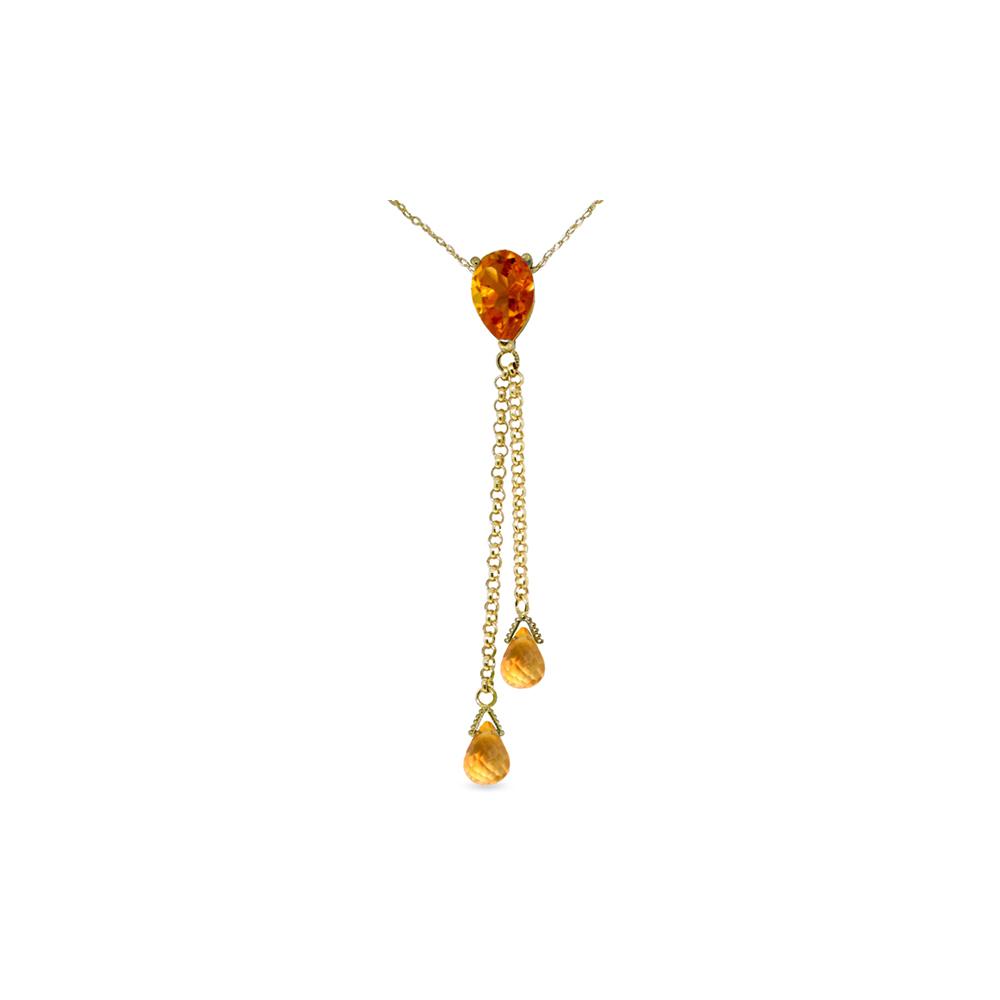 Genuine 3.75 ctw Citrine Necklace Jewelry 14KT Yellow Gold - REF-23N5R