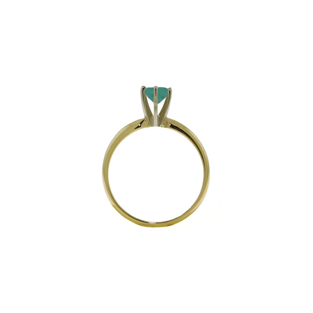 Genuine 0.65 ctw Emerald Ring Jewelry 14KT White Gold - REF-28X5M