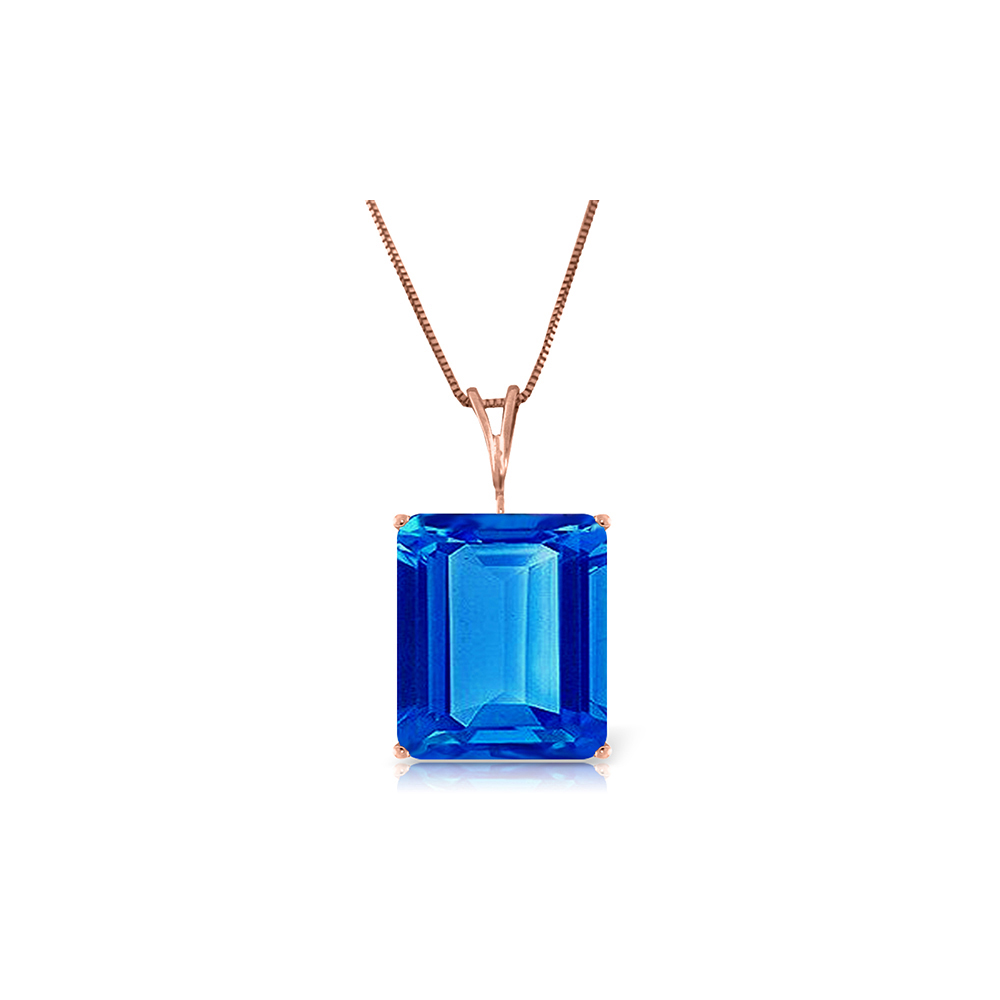 Genuine 7 ctw Blue Topaz Necklace Jewelry 14KT Rose Gold - REF-35W9Y