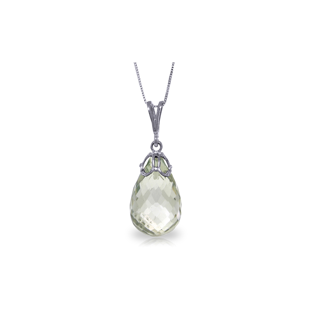 Genuine 7 ctw Green Amethyst Necklace Jewelry 14KT White Gold - REF-25H3X