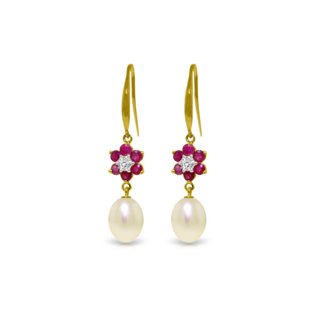 Genuine 9.01 ctw Ruby, Pearl & Diamond Earrings Jewelry 14KT Yellow Gold - REF-46F7Z