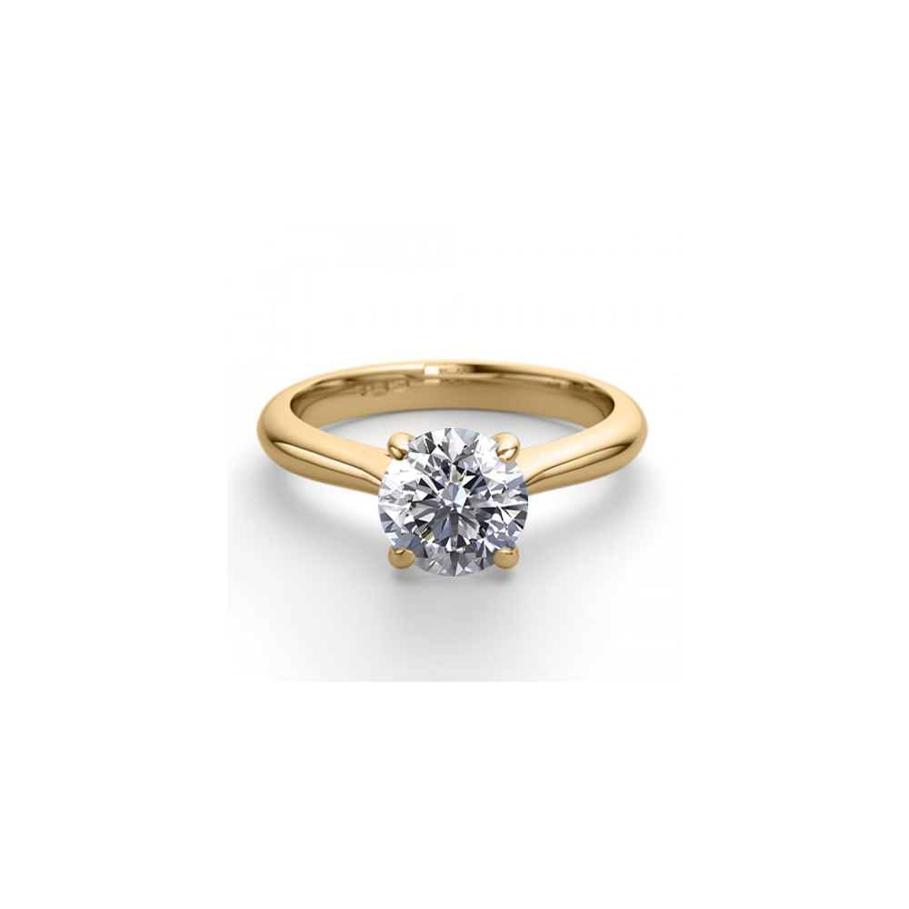 18K Yellow Gold 0.91 ctw Natural Diamond Solitaire Ring - REF-263R2M-WJ13266