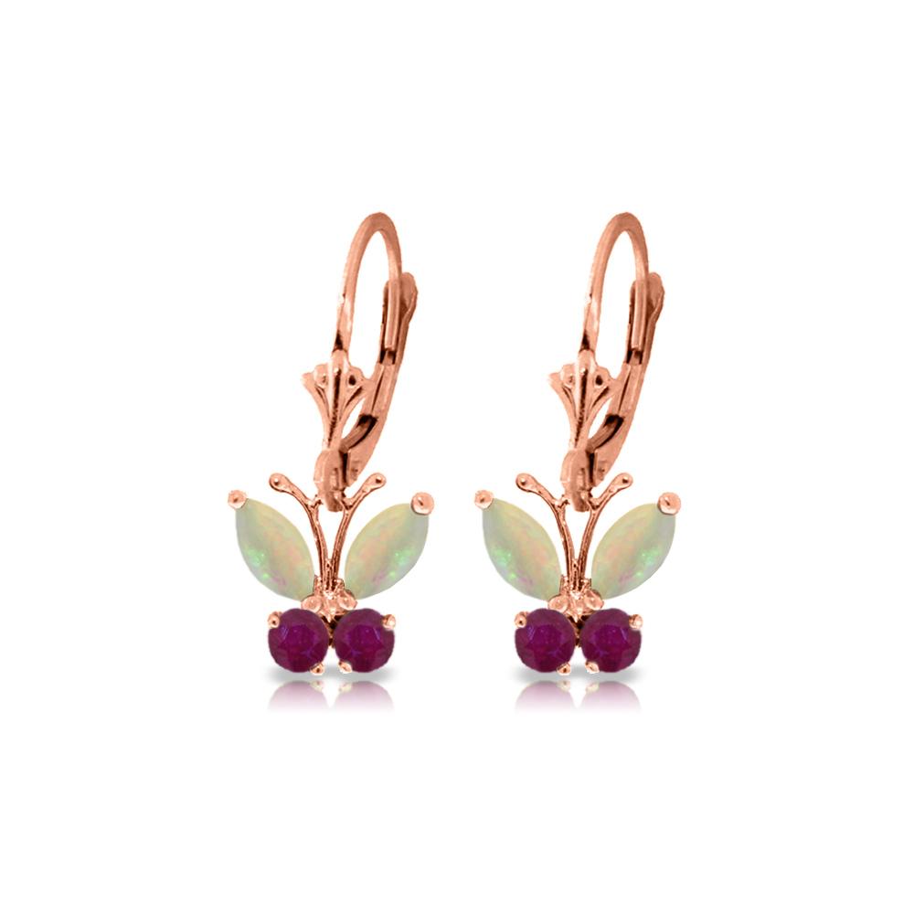 Genuine 1.39 ctw Opal & Ruby Earrings Jewelry 14KT Rose Gold - REF-41P4H