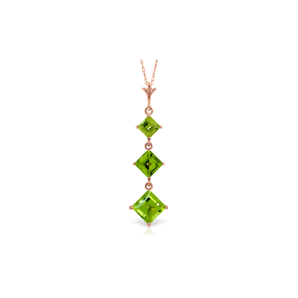 Genuine 2.4 ctw Peridot Necklace Jewelry 14KT Rose Gold - REF-29H7X