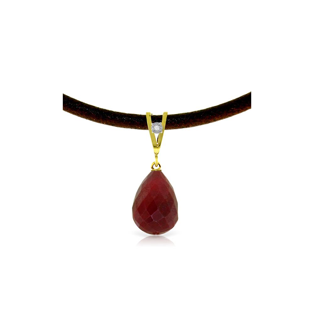 Genuine 15.51 ctw Ruby & Diamond Necklace Jewelry 14KT Yellow Gold - REF-30N2R