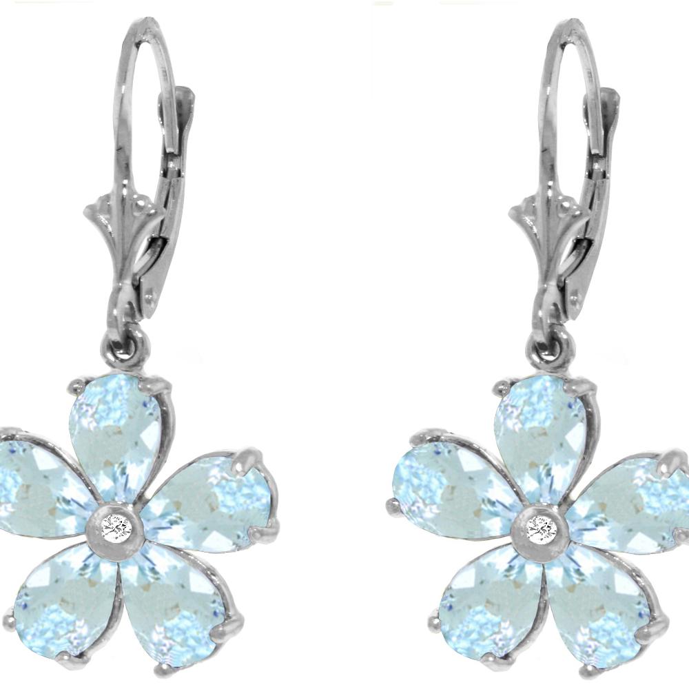 Genuine 4.43 ctw Aquamarine & Diamond Earrings Jewelry 14KT White Gold - REF-62A6K