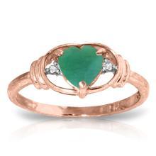 Genuine 1.01 ctw Emerald & Diamond Ring Jewelry 14KT Rose Gold - REF-49X2M
