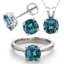 14K White Gold Jewelry SET 3.0CTW Blue Diamond Ring, Earrings, Necklace - REF#569X8F-WJ13346