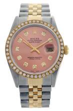 Rolex Men's 2Tone/SS 14K Band Diamond Dial/ Bezel Pre-owned
