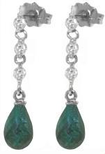 Genuine 6.9 ctw Green Sapphire Corundum & Diamond Earrings Jewelry 14KT White Gold - REF-44X9M