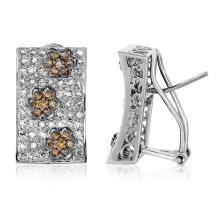 Genuine 1.5 CTW Diamond Button  Earring in 14K White Gold - REF-117W4H