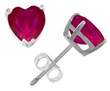 Genuine 2.9 ctw Ruby Earrings Jewelry 14KT White Gold - REF-27Y6F