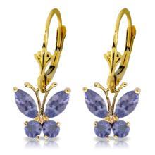 Genuine 1.24 ctw Tanzanite Earrings Jewelry 14KT Yellow Gold - REF-48V3W