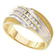 0.25 CTW Mens Channel-set Diamond Diagonal Double Row Ring 10KT Yellow Two-tone Gold - REF-32Y9X