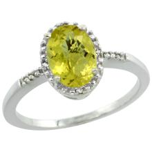 Natural 1.2 ctw Lemon-quartz & Diamond Engagement Ring 10K White Gold - REF-16Z7Y