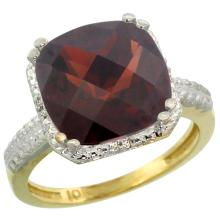 Natural 5.96 ctw Garnet & Diamond Engagement Ring 10K Yellow Gold - REF-39N7G
