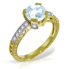Genuine 1.80 ctw Aquamarine & Diamond Ring Jewelry 14KT Yellow Gold - REF-102N4R