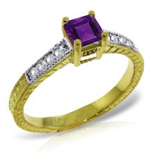 Genuine 0.65 ctw Amethyst & Diamond Ring Jewelry 14KT Yellow Gold - REF-69H6X