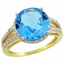 Natural 5.34 ctw Swiss-blue-topaz & Diamond Engagement Ring 14K Yellow Gold - REF-45M5H