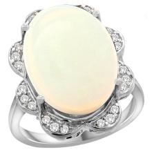 Natural 13.83 ctw opal & Diamond Engagement Ring 14K White Gold - REF-131G4M