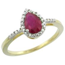 Natural 1.03 ctw ruby & Diamond Engagement Ring 10K Yellow Gold - REF-27H8W