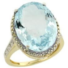 Natural 13.6 ctw Aquamarine & Diamond Engagement Ring 14K Yellow Gold - REF-236V2F