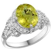 Natural 2.92 ctw lemon-quartz & Diamond Engagement Ring 14K White Gold - REF-101W5K