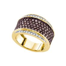 1.55 CTW Cognac-brown Colored Diamond Cocktail Ring 10K Yellow Gold - REF-119X9F
