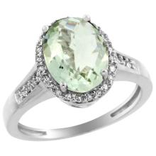 Natural 2.49 ctw Green-amethyst & Diamond Engagement Ring 10K White Gold - REF-31M9H