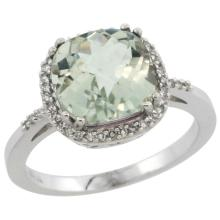 Natural 4.11 ctw Green-amethyst & Diamond Engagement Ring 10K White Gold - REF-34V3F