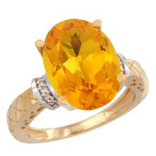 Natural 5.53 ctw Citrine & Diamond Engagement Ring 14K Yellow Gold - REF-60H3W