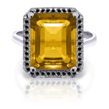 Genuine 5.8 ctw Citrine & Black Diamond Ring Jewelry 14KT White Gold - REF-79P8H