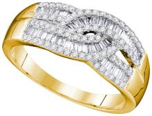 0.65 CTW Natural Baguette Diamond Cocktail Band 10K Yellow Gold - REF-55X9F
