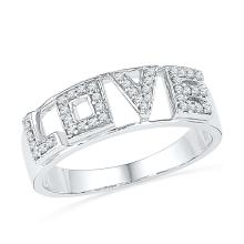 0.16 CTW Natural Diamond Love Band 10K White Gold - REF-33X8F