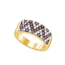 1.05 CTW Cognac-brown Colored Diamond Chevron Band 10K Yellow Gold - REF-85X9F