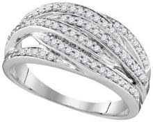 0.34 CTW Natural Diamond Striped Band 10K White Gold - REF-41X8F