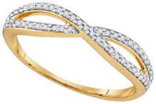 0.12 CTW Natural Diamond Crossover Band 10K Yellow Gold - REF-19X9F
