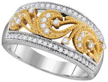 0.36 CTW Natural Diamond Filigree Band 10K Multi-Tone Gold - REF-59X8F