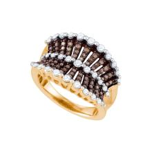 1 CTW Cognac-brown Colored Diamond Concave Band 10K Rose Gold - REF-115X8F