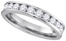 0.75 CTW Natural Diamond Channel-Set 4mm Anniversary Band 14K White Gold - REF-109X8F