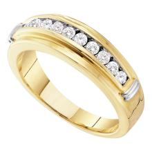 0.52 CTW Mens Channel-set Diamond Single Row Wedding Ring 14KT Two-tone Gold - REF-52M4H