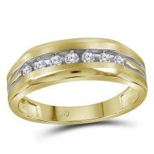 0.26 CTW Mens Diamond Grooved Wedding Ring 14KT Two-tone Gold - REF-34X4Y