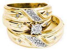 0.15 CTW Diamond Cross Christian Matching Mens Trio Bridal Ring 10K Yellow Gold - REF-50V2T