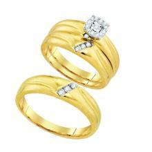 0.18 CTW Diamond Halo Matching Mens Trio Bridal Ring 10K Yellow Gold - REF-50V2T
