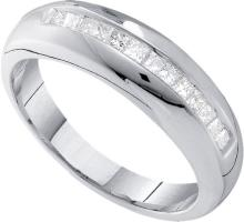 0.5 CTW Mens Princess Natural Diamond Band 14K White Gold - REF-99V9T