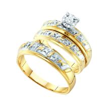 0.07 CTW His & Hers Men Diamond Matching Trio Bridal Ring 10K Yellow Gold - REF-40V2T