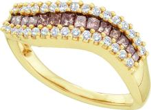0.65 CTW Cognac-brown Colored Princess Diamond Curved Contoured Fine Band 14K Yellow Gold - REF-79V9T