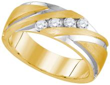 0.33 CTW Mens Natural Diamond Band 10K Yellow Gold - REF-105V9T