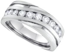 1 CTW Mens Natural Diamond Band Anniversary Ring 10K White Gold - REF-139V9T