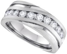 0.5 CTW Mens Natural Diamond Band Anniversary Ring 10K White Gold - REF-79V9T